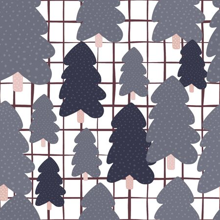 Hand drawn pine tree seamless pattern on white background. Christmas holiday forest wallpaper. Design for fabric, textile print, kitchen textiles, wrapping, cover. Vector illustration