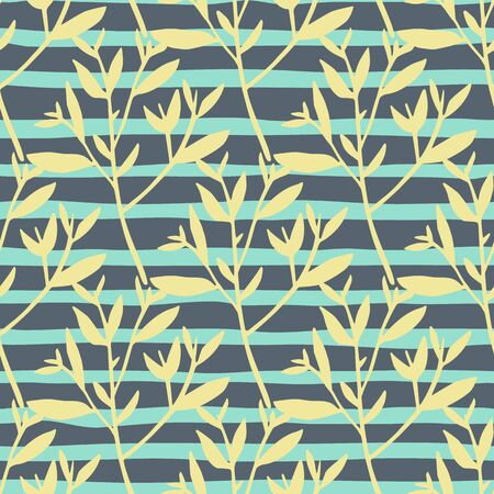 Abstract twig silhouette seamless pattern on stripe background. Tree branches wallpaper. Nature decorative sprig. Vector illustration. Design for fabric, textile print, wrapping paper