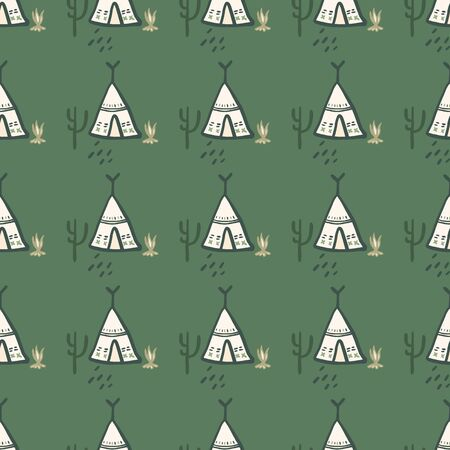 Cute teepee seamless pattern on green background. Native style. Tribal wallpaper. Decorative backdrop for fabric design, textile print, wrapping, cover. Vector illustration Vectores
