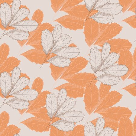 Vintage autumn leaf seamless pattern on light background. Tree leaves backdrop. Autumn floral wallpaper. Retro vector illustration. For fabric design, textile print, wrapping paper, cover. Vectores