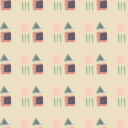 Abstract geometric square and triangular shapes seamless pattern. Simple ethnic wallpaper. Decorative backdrop for fabric design, textile print, wrapping. Vector illustration 向量圖像