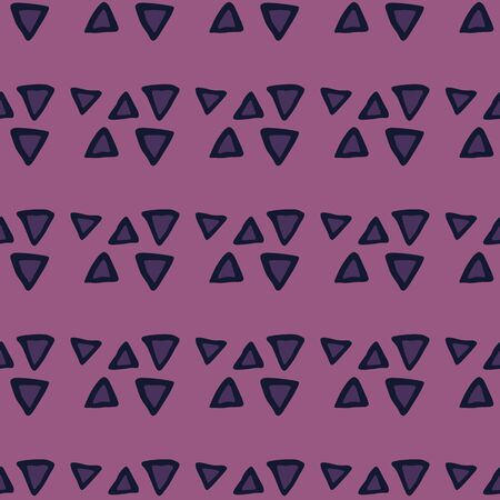 Hand drawn geometric triangle seamless pattern on pink background. Creative scribble shapes wallpaper. Decorative backdrop for fabric design, textile print, wrapping, cover. Vector illustration