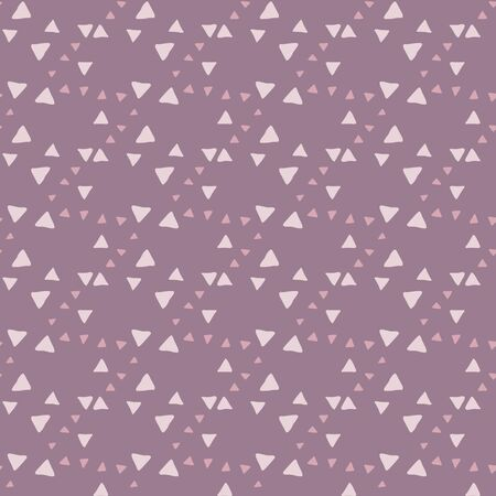 Hand drawn triangle seamless pattern on pink background. Creative scribble geometric wallpaper. Decorative backdrop for fabric design, textile print, wrapping, cover. Vector illustration