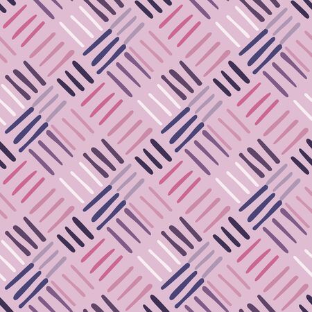 Diagonal line shapes endless wallpaper. Geometric seamless pattern with dash line. Doodle stripe backdrop. For fabric design, textile print, wrapping, cover. Vector illustration. 向量圖像