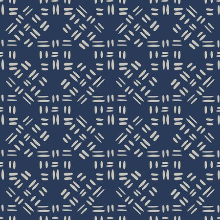 Geometric seamless pattern with dash line on blue background. Geometric line shapes endless wallpaper. Decorative backdrop for fabric design, textile print, wrapping, cover. Vector illustration. 向量圖像