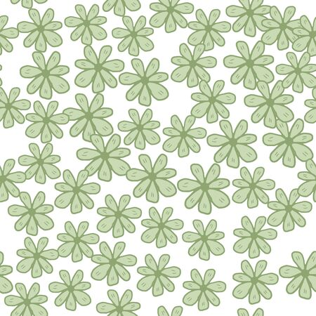 Green chamomiles flowers seamless pattern on white background. Abstract daisies floral endless wallpaper. Design for fabric, textile print, wrapping paper, cover. Vector illustration