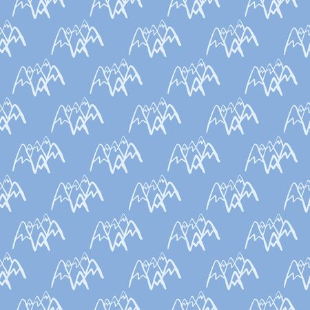 Seamless pattern with mountains on blue background. White peak rock endless wallpaper. Decorative backdrop for fabric design, textile print, wrapping, cover. Vector illustration.