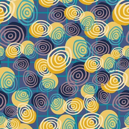 Abstract spirals seamless pattern. Circle shape.Hand drawn retro style vector wallpaper. Artistic backdrop. Line drawing. For fabric design, textile print, wrapping, cover.