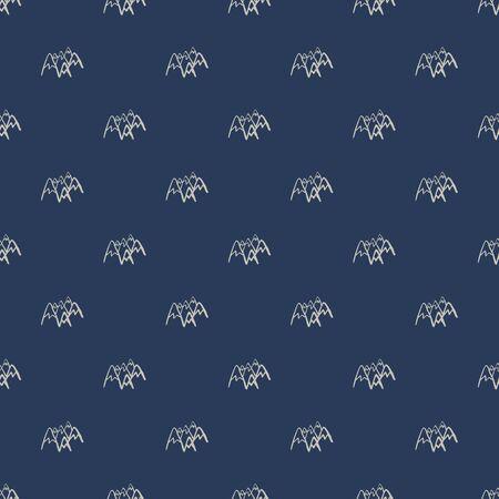 Mountains seamless pattern on blue background. White peak rock endless wallpaper.