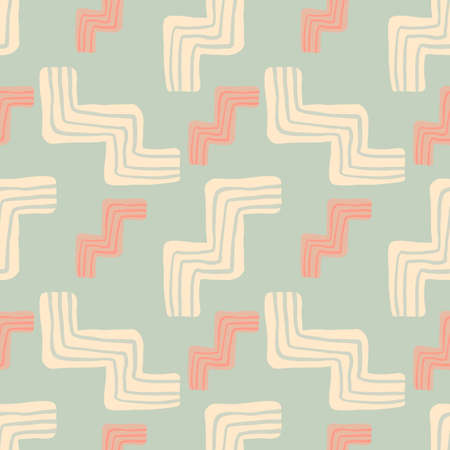 Random seamless pattern in pastel tones with zigzag elements. Design in pink and blue colors. Vector illustration. Designed for textile prints, wallpaper, wrapping paper,kids clothes. 向量圖像