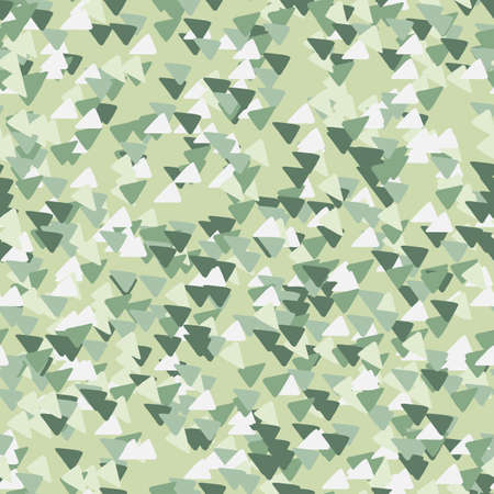 Abstract geometric background with triangles in camouflage style. Seamless khaki pattern. Decorative backdrop for fabric design, textile print, wrapping, cover. Vector illustration.