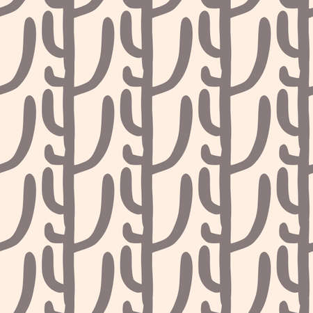 Geometric seamless pattern with cactuses on light background. Desert doodle cacti endless wallpaper. Decorative backdrop for fabric design, textile print, wrapping, cover.