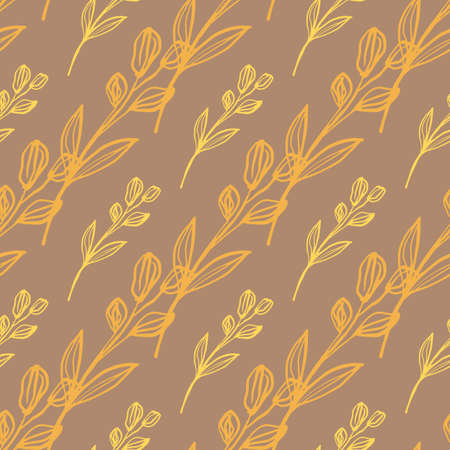 Hand drawn floral design in beige and orange colours. Seamless pattern with diagonal lines. Decorative backdrop for fabric design, textile print, wrapping, cover. Vector illustration.