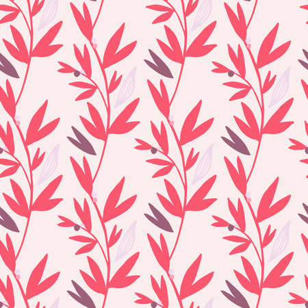 Bright pink botanic branches with purple elements on light background. Vector illustration. Can be used for wallpaper, pattern fills, surface textures, fabric prints.