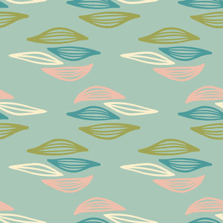Decorative ornamental seamless spring pattern. Outline leaves in green, blue and pink colors. Vector illustration. Trendy scandinavian design for fashion textile print, wallpaper, wrapping paper.