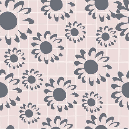 Gray small and middle flowers on chequered light lilac background. Seamless botanic pattern. Great for fabric, textile, wrapping paper, wallpaper. Vector illustration.