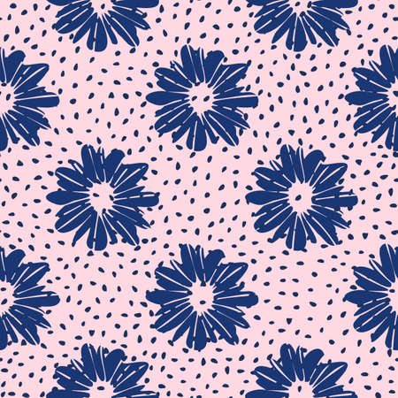 Simle floral doodle vector seamless pattern with daysies. Navy blue botanic elements on pink dotted background. Naivy backdrop. Use for wallpaper, pattern fills, surface textures, fabric prints.