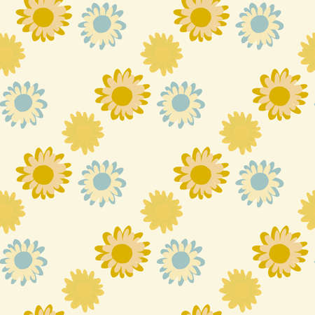 Isolated yellow and blue flowers seamless pattern. White background. Bright summer design. Designed for textile, wrapping paper, fabric print. Vector illustration.