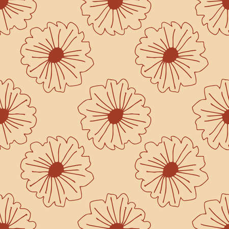 Outline contoured daisy seamless pattern. Retro style. Modern design for fabric, textile print, wrapping paper. Vintage vector illustration Illustration