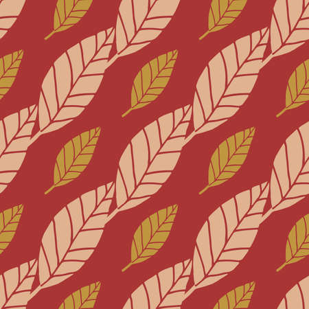 Bright botanic seamless pattern with small yellow and middle light leaves. Pastel red background. Decorative backdrop for wrapping paper, wallpaper, textile print and fabric. Illustration