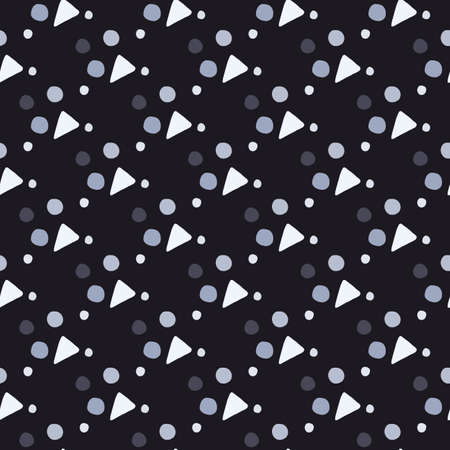 Blue, white and brown geometric figures seamless pattern. Black background. Perfect for fabric, textile, wrapping paper, wallpaper. Vector illustration.