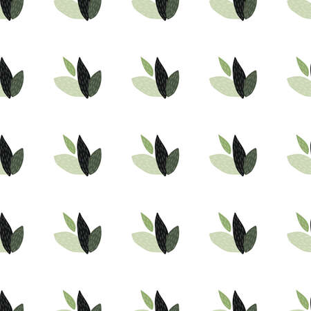 Geometric seamless botanic pattern with leaves silhouette. Isolated white background. Designed for textile, wrapping paper, wallpaper, fabric print. Vector illustration.