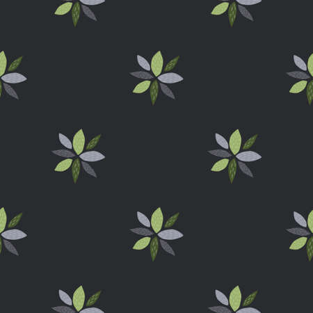 Geometric flowers abstract seamless pattern. Dark background, blue and green elements. Simple design. Use for wallpaper, wrapping paper, textile, fabric prints. Vector illustration.
