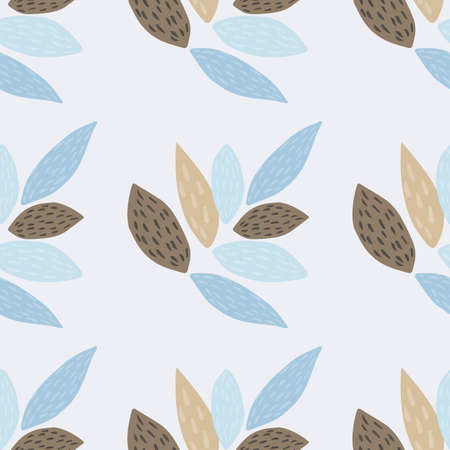Botanic seamless pattern with ornament leafs. Light background with brown and blue elements in scandinavian style. Great for fabric, textile, wrapping paper, wallpaper. Vector illustration.