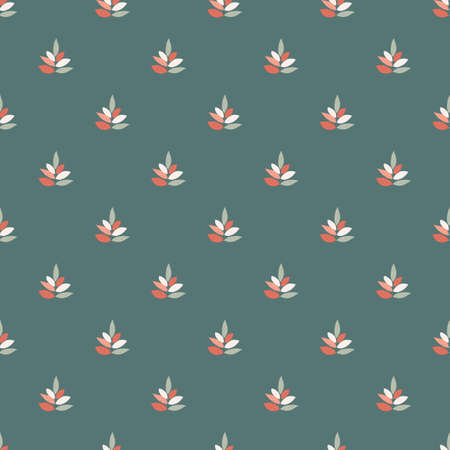 Leaves ornament seamless pattern. Turquoise background with coral, blue and white botanic elements. Designed for textile, fabric, wrapping paper, wallpaper. Vector illustration. Illustration