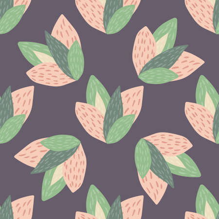 Spring botanic seamless pattern with pink and green leaves on purple background. Floral wallpaper with leaves. Decorative vector backdrop for fabric design, textile print, wrapping, cover.