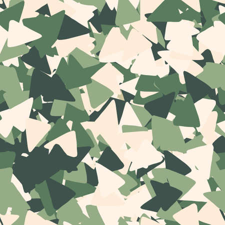 Geometric seamless pattern made of triangles in khaki tones. Decorative backdrop for fabric design, textile print, wrapping, cover. Vector illustration.