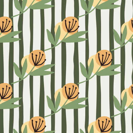 Diagonal dandelion flowers in orande tones on seamless pattern. White background with black lines. Perfect for wrapping paper, wallpaper, fabric, textile, design projects. Vector illustration.