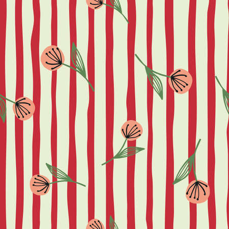 Bright seamless floral pattern with random located dandelion. White background with red strips. For fabric design, textile print, wrapping, cover. Vector illustration.