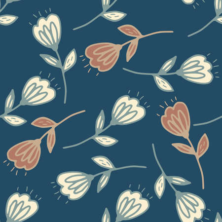 Random seamless pattern with beige and pastel brick flowers. Dark blue background. Great for fabric, textile, wrapping paper, wallpaper. Vector illustration. Illustration