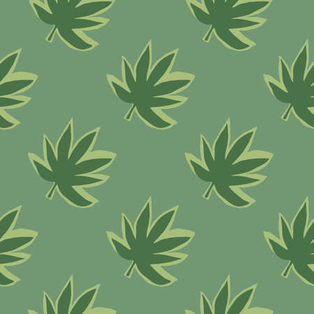 Seamless pattern with hemp leaves on green background. Botanical wallpaper. Decorative backdrop for fabric design, textile print, wrapping, cover. Vector illustration.