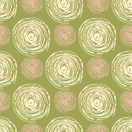 Pink and light spirals seamless pattern. Pastel green background. Can be used for wallpaper, surface textures, fabric prints, wrapping paper, textile. Vector illustration.