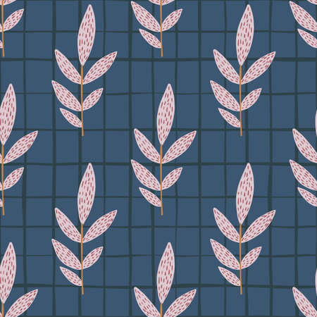 Pink dashed and vertical located branches on dark blue chequered background. Seamless pattern. Vector illustration. Designed for textile, wallpaper, wrapping paper, kids clothes.