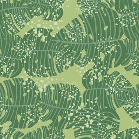 Chaotic monstera leaves wallpaper. Botanic seamless pattern. Decorative backdrop for fabric design, textile print, wrapping, cover. Vector illustration.