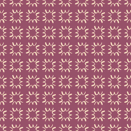 Abstract geometric pattern with small white elements on purple background. Vector illustration. Designed for textile, wallpaper, wrapping paper, fabric design.
