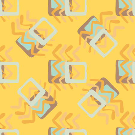 Random seamless pattern. Geometric figures in orange and blue colors on yellow background. Vector illustration. Print for kids clothes, wrapping paper, wallpaper, textile. Vecteurs