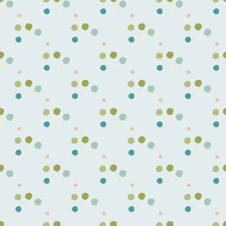 Geometric polka dot seamless pattern. Little circles in green, blue colors on pastel light background. Creative print for fabric design, textile, wrapping, cover, wallpaper. Vector illustration.