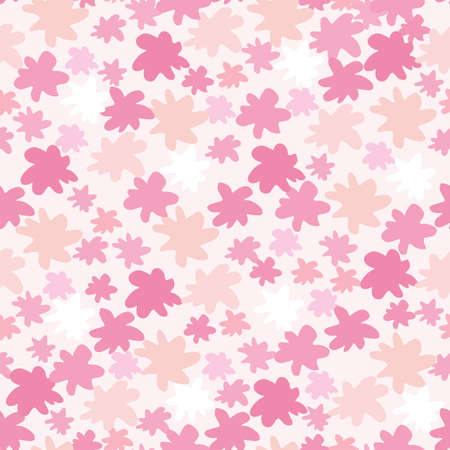 Random small and middle star shapes isolated seamless pattern. Figures in pink tones on white background. Designed for wallpaper, textile, wrapping paper, fabric print. Vector illustration.