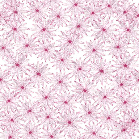 Random seamless pattern pink flowers on a white background. Vintage hand-drawn sketch with daisy. Decorative backdrop for fabric design, textile print, wrapping, cover. Vector illustration