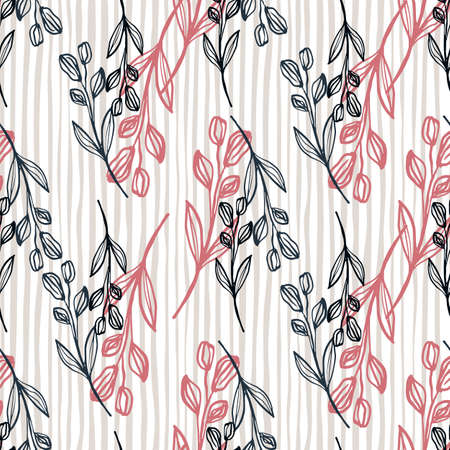 Cute hand drawn floral pattern with pink and black colours. Lined background. Decorative backdrop for fabric design, textile print, wrapping, cover. Vector illustration. Illustration