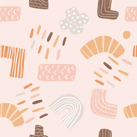 Cute doodle shapes vector seamless pattern on white background. Zig zag, plus, minus, t symbol, line. Kids funny vector wallpaper. Abstract colorful texture for textile, kids clothes, wrapping paper.