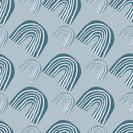 Creative pattern design with small and middle rainbows in blue tones. Scandinavian style. Design for kids, wallpaper, wrapping paper, textile. Vector illustration.