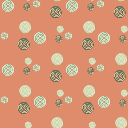 Abstract seamless pattern with spirals in green tones. Pastel pink background. Print for wrapping paper, wallpaper, textile, fabric. Vector illustration.