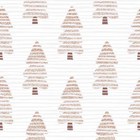 Pink trees with marks on white background with lines. Christmas seamless pattern. Vector illustration. For fabric design, textile print, wrapping, cover.