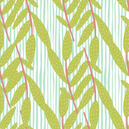 Olive colour floral branches on light background with blue lines. Seamless spring pattern. Vector illustration for textiles, wallpaper, web pages, wedding invitations.