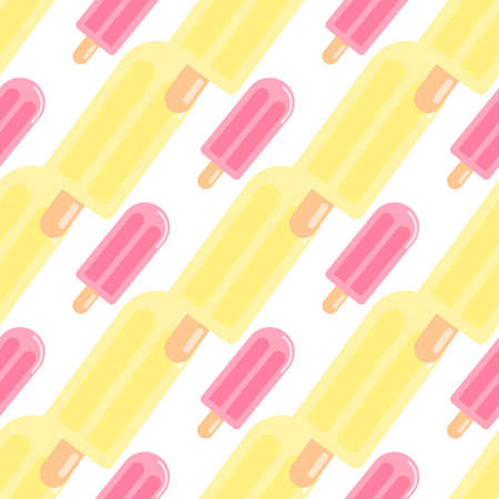 Isolated fruit ice seamless pattern in yellow and pink colors on white background. Tasty food backdrop. Designed for wallpaper, textile, wrapping paper, fabric print. Vector illustration.